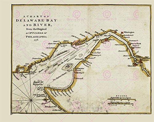 Doppelganger33 LTD Map Antique 1776 Fisher Delaware Bay River Philadelphia Replica Canvas Art Print -