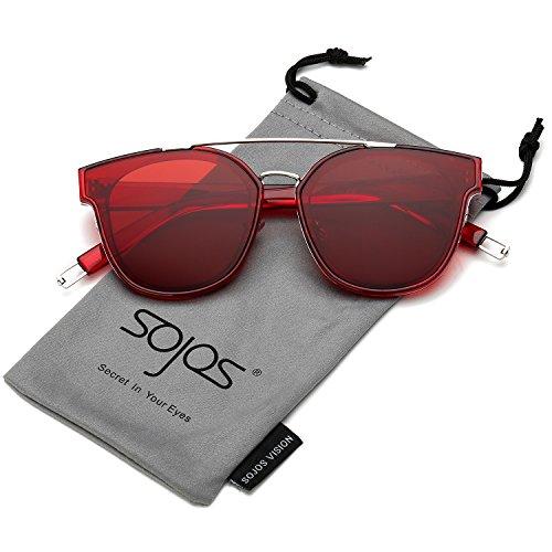 SOJOS Schick Klassische Retro Doppelt Metallbrücken Rechteckig Sonnenbrille Damen Herren SJ2038 mit Silber Rahmen/Rot Linse