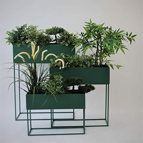 3er Set Pflanzkasten Blumenständer H31/48/65cm Metall, Grün - Blumenkasten Pflanzenkasten Blumenkasten Hochbeet Balkonkasten