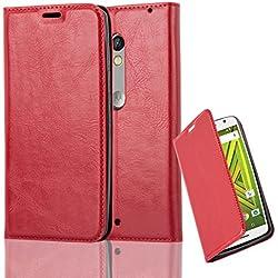 Cadorabo Coque pour Motorola Moto X Play en Rouge DE Pomme – Housse Protection avec Fermoire Magnétique, Stand Horizontal et Fente Carte – Portefeuille Etui Poche Folio Case Cover