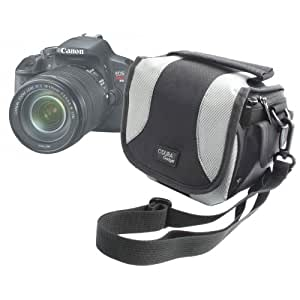 Sacoche de rangement à multiples poches + lanière de transport pour appareils photos numériques SLR Canon EOS 5D Mark II, 60D, 600D, 650D, 1100D