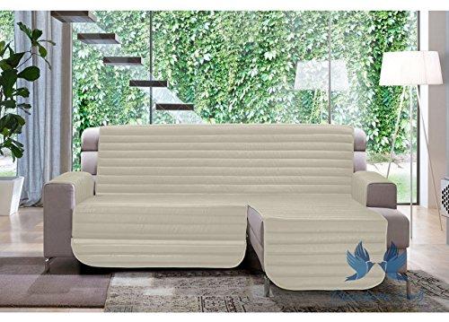 Biancheriaweb copridivano trapuntato per divani con penisola modello simpaty 190 cm panna