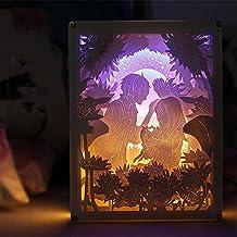 OOFAY LIGHT® Lampada Intagliata di Carta Chiara e Ombra Coppia Comodino Lampada decorativa Compleanno fai da te Creativo 3D Night Light Telecomando San Valentino Regalo di compleanno