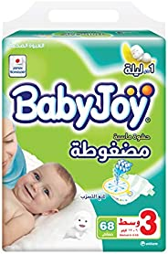 Babyjoy Compressed Diamond pad Diaper, Mega Pack Medium Size 3, Count 204, 6 - 12 KG