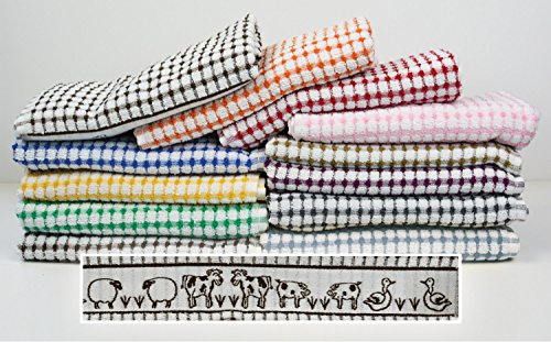 Pack of 6 Tunstead Farm Estate Animal Collection 100% Cotton Terry Tea Towels - Aubergine