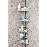 Telescopic shower bathroom shelf with 4adjustable baskets Max. height: approximately 270 cm. Made from aluminium!