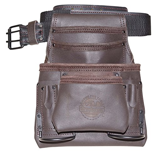 graintex os225310Pocket Öl gegerbtes Leder Nail & Tool Pouch mit 5,1cm Leder/Gurtband Gürtel doppelt Nadel Rollschnalle - Nail Pouch