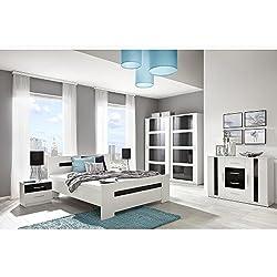 JUSThome Presto Max Conjunto dormitorio habitación de matrimonio Blanco Negro