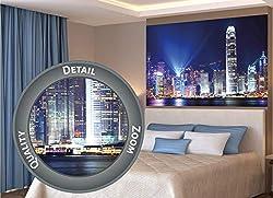 GREAT ART XXL Poster - Hongkong bei Nacht - Wanddekoration Deko Mega City Sightseeing Städte Lichter Stadt Wandbild Metropole Nachtbild Skyline China Millionenstadt Motiv (140 x 100 cm)