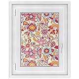 Fensterdeko für Kinderzimmer | selbstklebende Fensterfolie - dekoratives Fensterbild | Sichtschutzfolie für Fenster - einfach anzubringen - Made in Germany | Design Red Flower Pattern - 50 x 70 cm