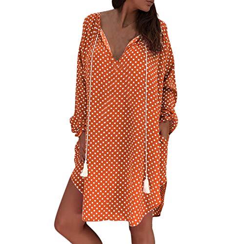 KPILP Frauen Plus Size Minikleid Polka Dot Print Lose Lange Ärmel V-Ausschnitt Abend Party Minikleid Formelle Kleidung(Orange,EU-44/CN-L)
