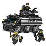 Modbrix Bausteine SEK Polizei Anti-Terror Panzerfahrzeug inkl. Custom Polizei Minifiguren und Waffen, 349 Teiliges Konstruktionsspielzeug