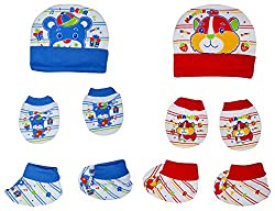 132 New Born Baby Premium Quality Cotton Cap, Mittens and Socks   0-6 Months   Pack of 2   Blue & Red