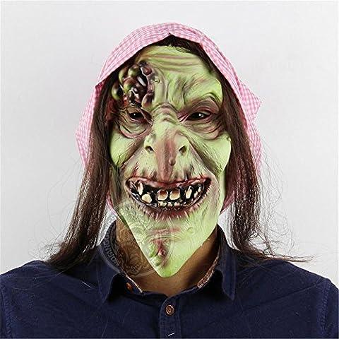 SQCOOL Horror Maske Märchen alte Hexe Tanz Requisiten Halloween Bar Kammer Escape voller Satz von (Alte Frau Kostüm Diy)