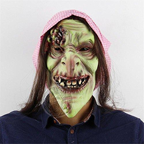 Diy Frau Kostüm Alte (SQCOOL Horror Maske Märchen alte Hexe Tanz Requisiten Halloween Bar Kammer Escape voller Satz von)