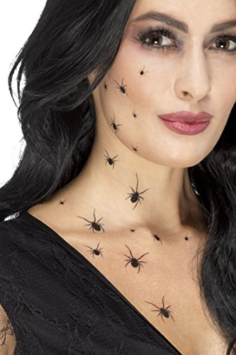 Smiffys SMIFFY 'S 45879 kriechen Spider Tattoo Transfers, schwarz, one Size (Kostüm Halloween Ideen Tattoo)