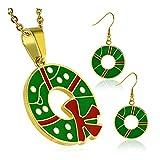 Goldfarbe überzogen Edelstahl-Grün-Rot-Weiß Enameled Weihnachtskranz-Blumen-Anhänger & Paar lange Tropfen-Haken-Ohrringe (SET)