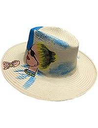 Y-WEIFENG Sombrero de Mujer Playa Grande a lo Largo de la sombrilla Sombrero  de Paja Pintado a Mano al Aire… db94a47f0af