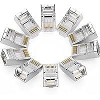 UGREEN 10 Unidades de Conectores RJ45 Blindados 8PCS STP para Cable Ethernet Cat6, Compatible con Cat 6A, Chapados en Oro