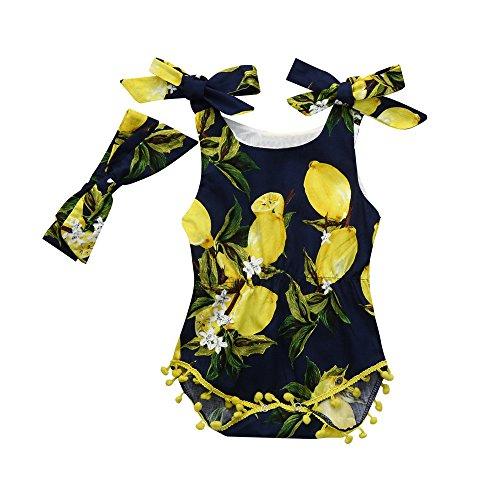 ädchen Ananas Zitrone Shorts Strampler + Stirnband Kostüm Sommer Für 6-24 Monate (Marine, 12 Monat) ()
