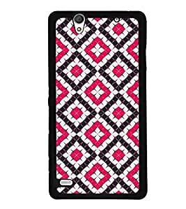 Fuson Premium Pink Diamonds Metal Printed with Hard Plastic Back Case Cover for Sony Xperia C4 Dual