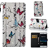 HUAWEI P9 Lite Case, Iddi-Case Fashion Cute Pattern Luxury Pu Leather Wallet Magnetic Design Flip Folio Protective Case Cover with Card Holder - Butterfly