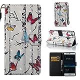 Lomogo [Huawei P9 Lite] Hülle Leder, Schutzhülle Brieftasche mit Kartenfach Klappbar Magnetverschluss Stoßfest Kratzfest Handyhülle Case für Huawei P9Lite - YIBO32363#5