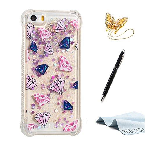 fa48ee2b996 TOUCASA Funda iPhone 5S,Funda iPhone 5, Glitter Liquida Transparente TPU  Silicona,Funda
