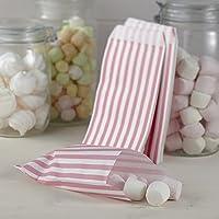 Ginger Ray - Sacchetti per caramelle a strisce rosa e bianche, motivo vintage