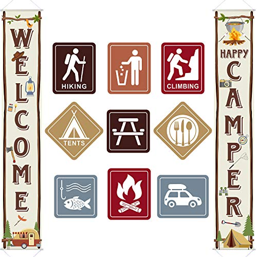 Camping Thema Party Dekorationen Set, Große Größe Laminiert Camping Zeichen Ausschnitte, Camping Party Banner Willkommen Veranda Zeichen Camping Thema Geburtstag Baby Dusche Dekorationen