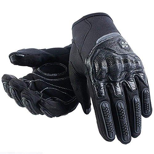 ARTOP Guanti Moto Estivi,Guanti da Moto di Pelle Touch screen Full Finger Protezione per Uomo Donna Unisex(Nero,M)