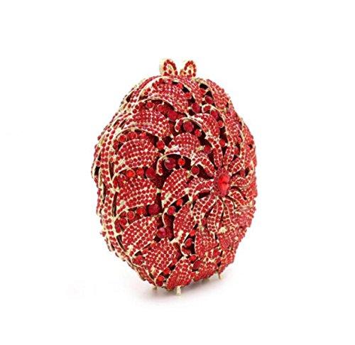 Fiori Di Alta Qualità Diamanti Di Cristallo Sacchetto Del Vestito Da Sera Del Sacchetto Di Mano Di Lusso Cava Diamante Red