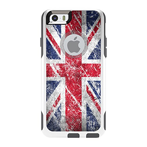 CUSTOM White OtterBox Commuter Series Case for Apple iPhone 6 PLUS (5.5 Model) - Red White Blue British Flag Weathered