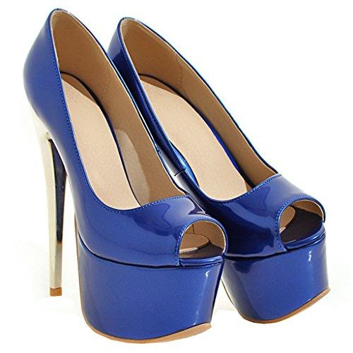 ENMAYER Femmes la Plate - forme Cuir Stiletto Super Talons Sexy et Escarpins Chaussures la Robe de Mariée de Glisser Sur la Cour Bleu#21
