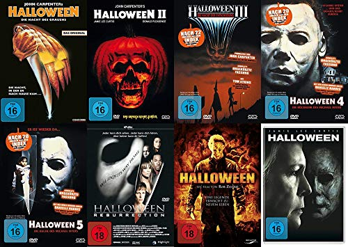 HALLOWEEN - DIE NÄCHTE DES GRAUENS - Teil 1 2 3 4 5 + Resurrection + Remake + 2018 - Michael Myers 8 DVD Collection (Film 1 5 Teil Halloween)