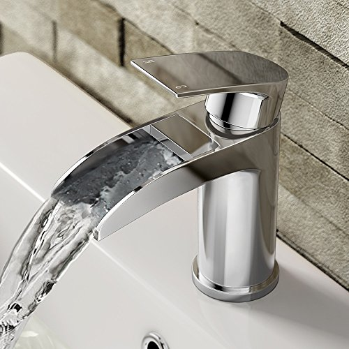 Luxury Waterfall Basin Sink Mixer Tap Modern Chrome Bathroom Lever Faucet F