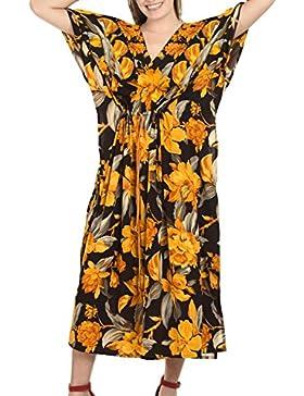 La Leela abito caftano LIKRE stilista spiaggia maxi usura marrone notte delle donne collo profondo