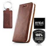 SURAZO Smart Magnet - Premium Vintage Ledertasche Schutzhülle Etui Wallet Case aus Echtes Nubukleder mit Kreditkarten Fachern - Farbe Nussbraun Samsung Galaxy A8 2018 (A530)