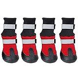 LvRao Wasserdicht Anti-Rutsch Pfotenschutz Schuhe Warm Reflektierende Haustier Stiefel Mit Klettbänder Für Mittlere Und große Hunde (Rot, XL)