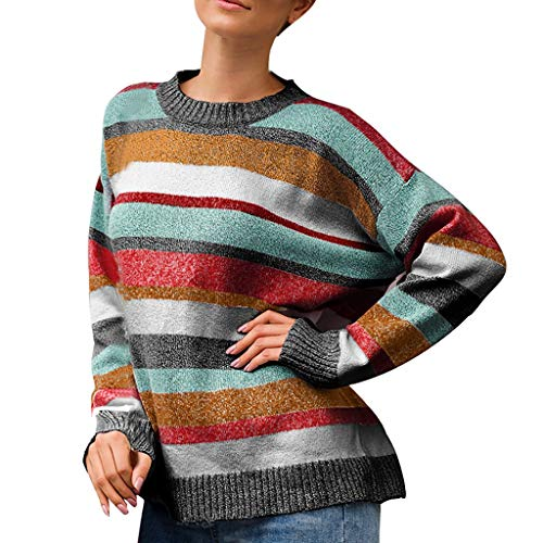 kolila Strickoberteile Damen Sweater Jumper Lässige Streifen Patchwork Lose Langarmoberteile Bluse Pullover