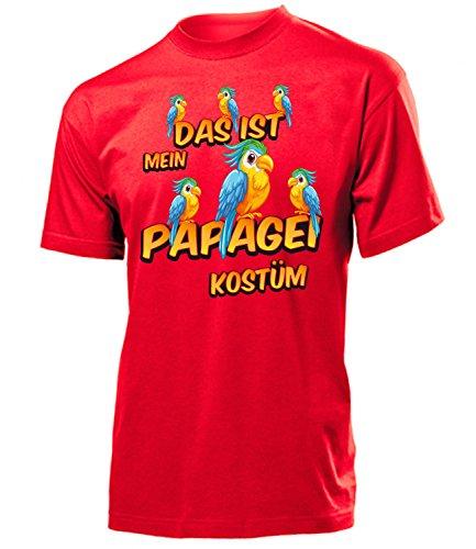 Papagei Kostüm Herren T-Shirt Tiere Männer 1935 Karneval Fasching Faschings Karnevals Tier Paar Gruppen Outfit Motto Party Oberteil Rot (Papagei Kostüm Ideen)