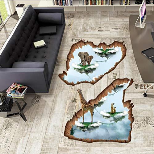 Guooe Wandtattoo Kinderzimmer Schlafzimmer Wohnzimmer Wandsticker, Kreative Inseln 3D Boden Aufkleber Elefanten Giraffe Tiere Wandaufkleber Kunst Wohnkultur Für Kinderzimmer Dekorative Vinyls Für Wand