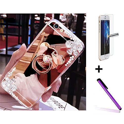 Samsung G530 Glitzer Spiegel TPU Hülle [mit gratis Displayschutzfolie + 1 STYLUS PEN] – Newstars Fashion Schöne Luxus 3D Handgefertigt Diamant Glitzer Bling Soft Shiny Sparkling mit Glas Spiegel Backp A6 Mirror Bear Ring 1