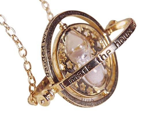 Harry Potter Thema Zeit Turner Sanduhr Anhänger Halskette 18K vergoldet