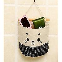 Happy little sheep Kitten Hanging Storage Bag Behind The Door Linen Cotton Fabric Wall Hanging Organizer Bag