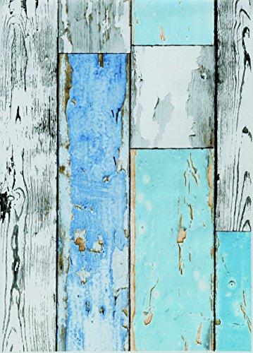 ecosoul Wachstuch-Tischdecke Scrapwood Breite 140 cm Meterware abwaschbar grau weiß hellblau Holz-Optik Outdoor-Tischdecke (240cm)