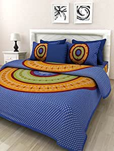 100% Cotton Bedsheets for Double Bed Cotton With 2 Pillow Covers (by Suraaj Fashion)
