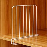 Inditradition Wardrobe Shelf Divider, Cloth Organizer | Wardrobe Closet Separator (Metal, White)