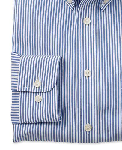 Savile Row Men's Non-Iron Blue White Stripe Smart-Casual Classic Fit Single Cuff Shirt White Navy