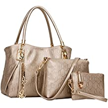 Coofit 3 EN 1 Bolso de mujer, cross body bag y monedero, hecho de cuero, Bolso mochila para mujer 3 Pcs Set bolsos de mano bolsos fiestabolsos bandolera